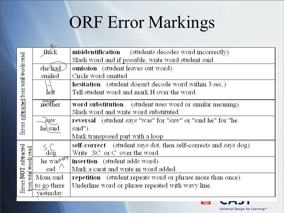 ORF Error Markings very n mom