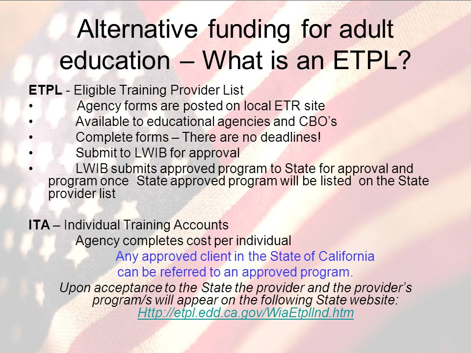 Alternative funding for adult education – What is an ETPL.