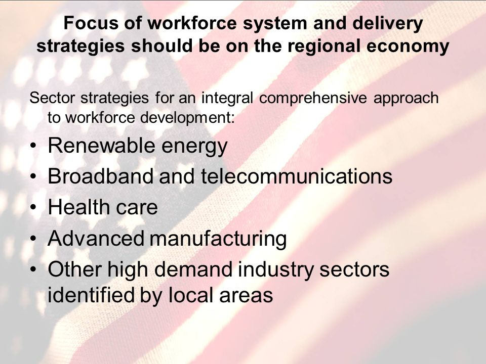 Focus of workforce system and delivery strategies should be on the regional economy Sector strategies for an integral comprehensive approach to workforce development: Renewable energy Broadband and telecommunications Health care Advanced manufacturing Other high demand industry sectors identified by local areas