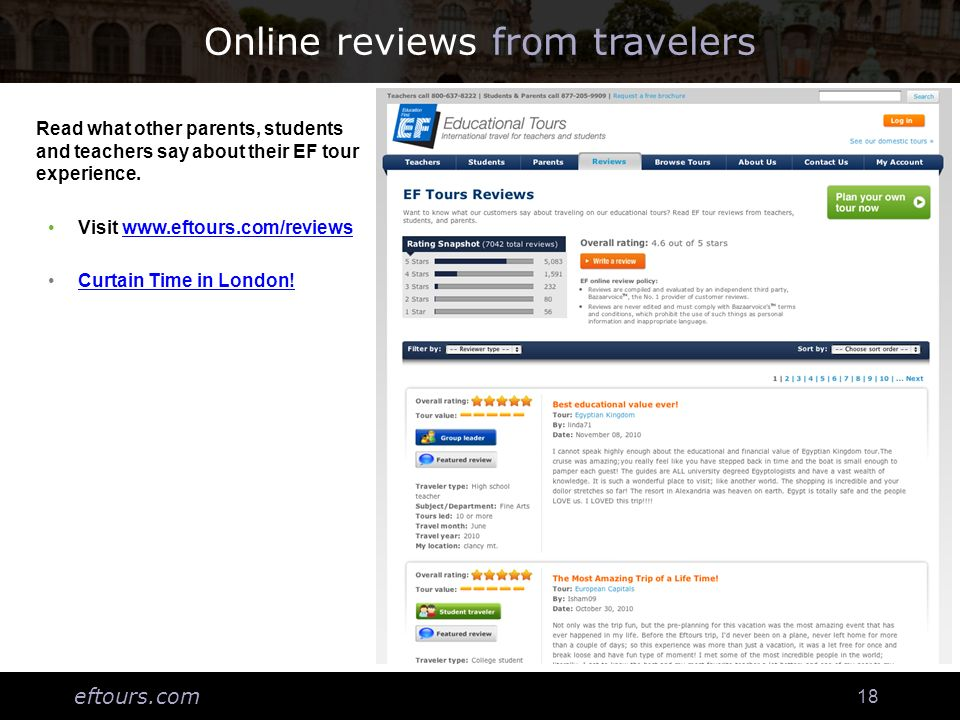 eftours.com 18 Online reviews from travelers Login to: Thkaa;flh Ha;lgh;hf;la Ahg;laskhf;lahf; Lakhflanfl;anfvla Alfbna;ljnbf;an;a Read what other parents, students and teachers say about their EF tour experience.