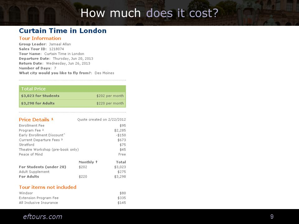 eftours.com 9 How much does it cost?