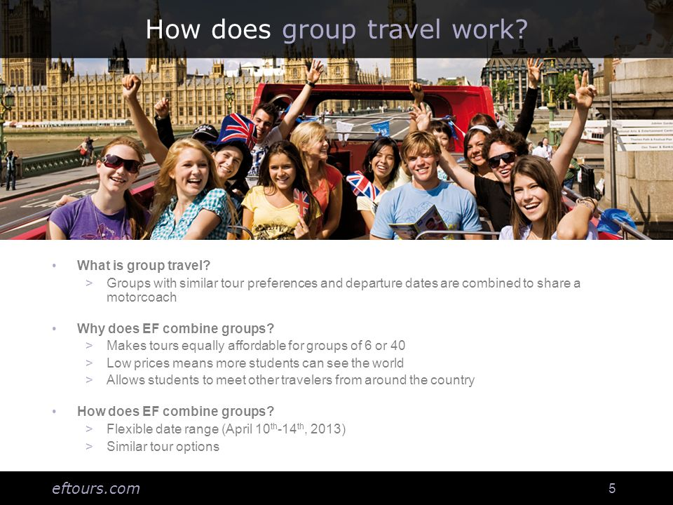 eftours.com 16 Personalized website for travelers Log-in to: Make online payments Purchase insurance and phone cards Enroll on optional excursions See messages and alerts from EF and your group leader View flight and hotel information