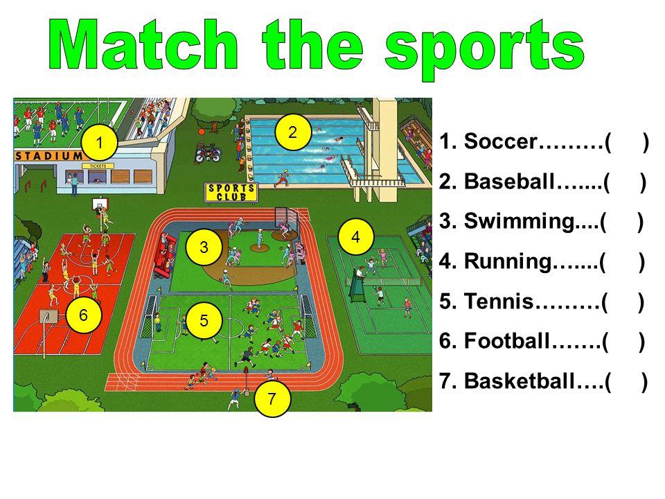 1 2 6 3 7 5 4 1.Soccer………( ) 2.Baseball…....( ) 3.Swimming....( ) 4.Running…....( ) 5.Tennis………( ) 6.Football…….( ) 7.Basketball….( )