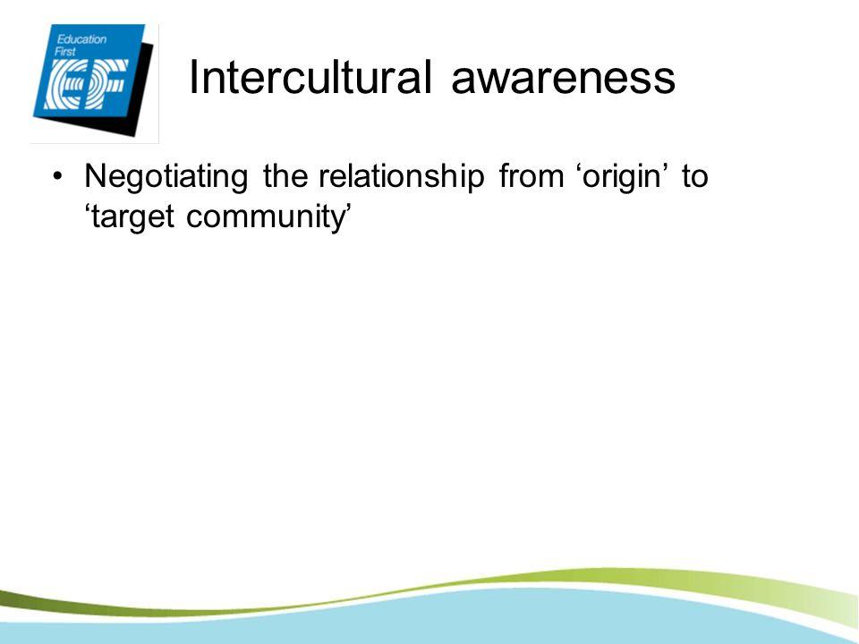 Intercultural awareness Negotiating the relationship from origin to target community