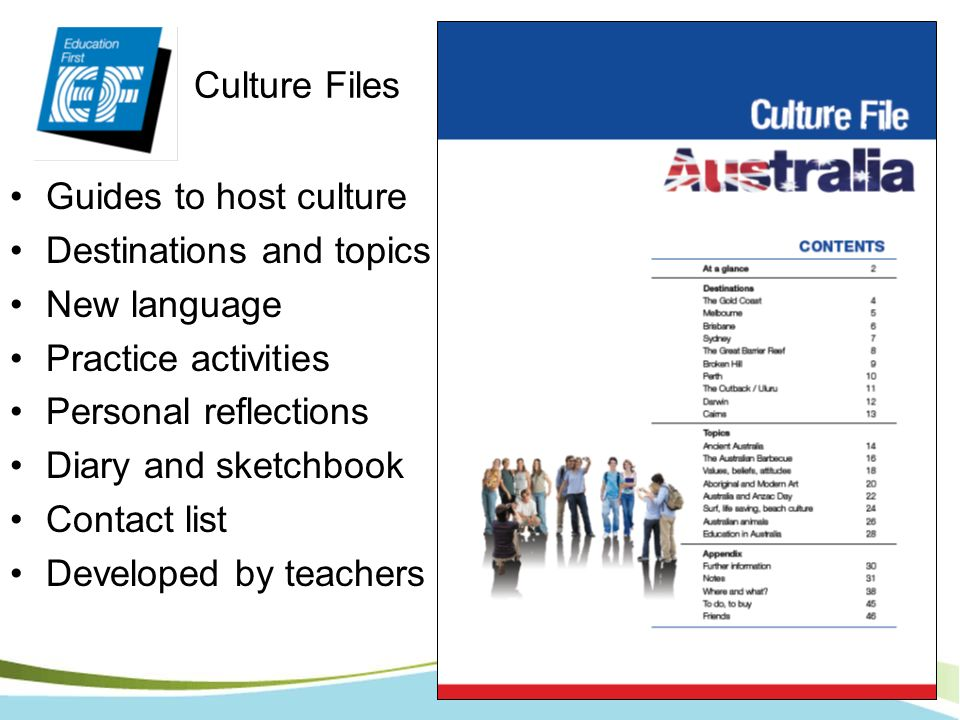 Guides to host culture Destinations and topics New language Practice activities Personal reflections Diary and sketchbook Contact list Developed by te