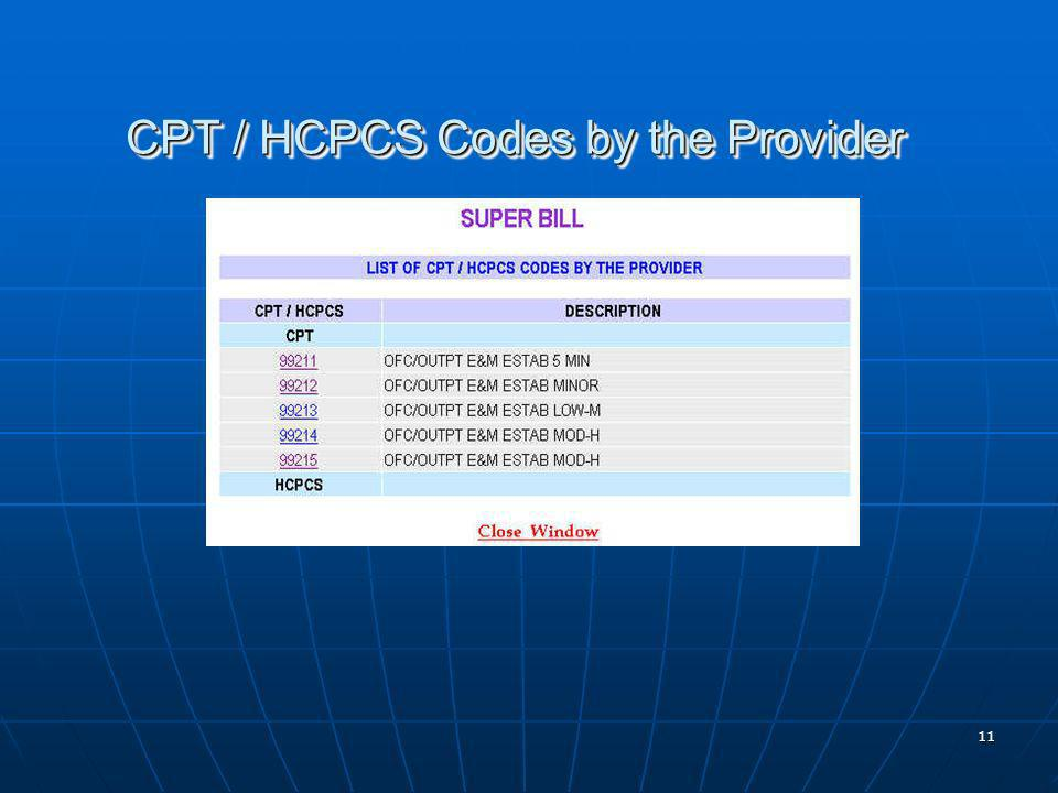 11 CPT / HCPCS Codes by the Provider