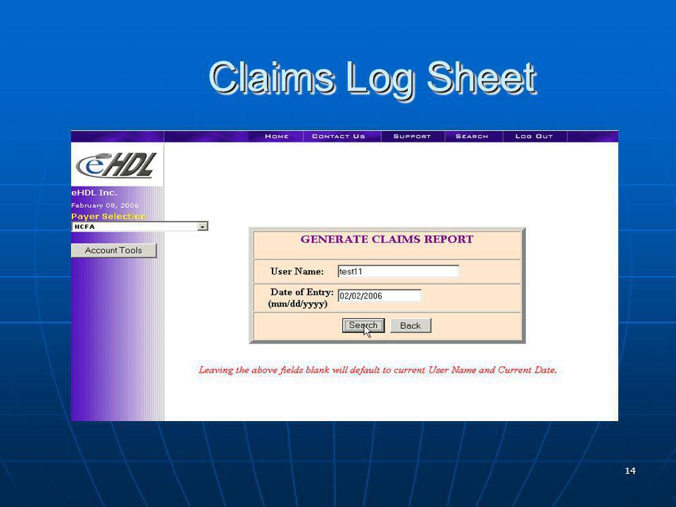 14 Claims Log Sheet