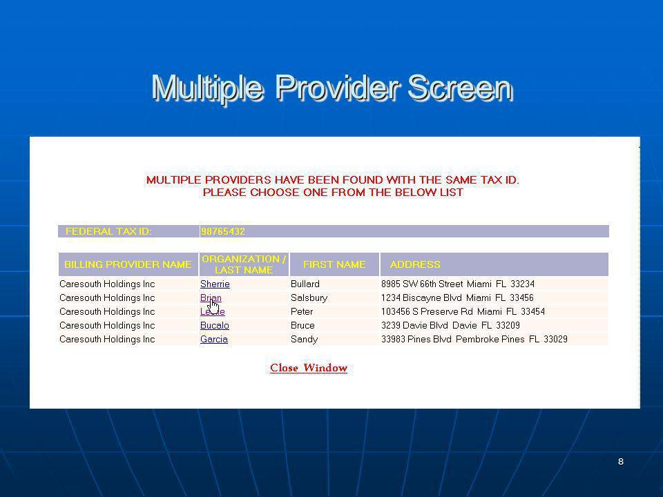 9 Pre Populated Provider Data