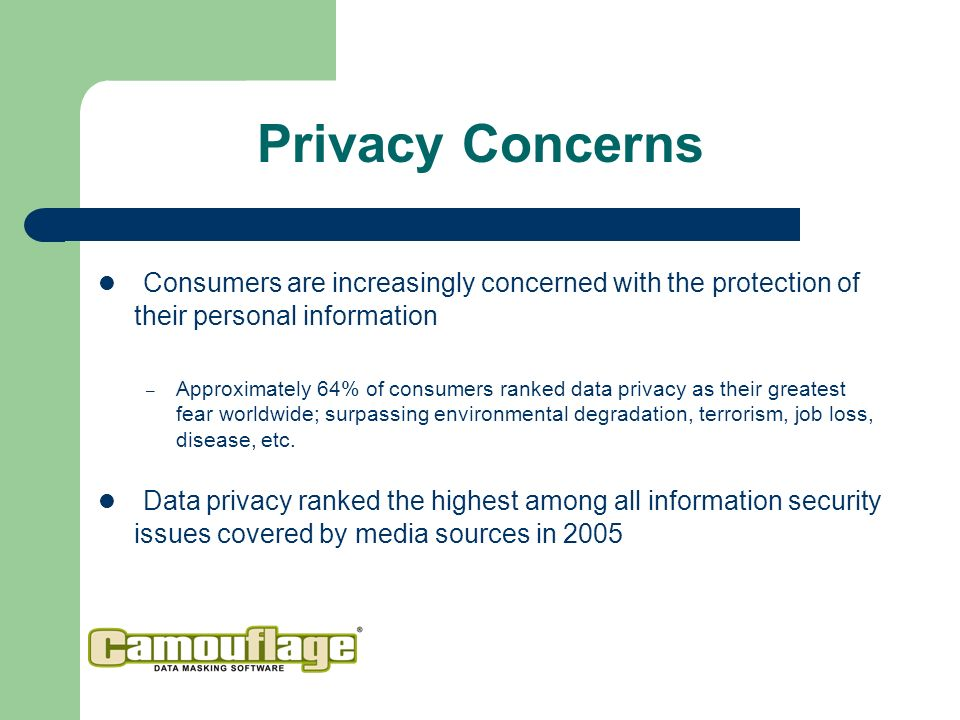 Privacy Concerns Consumers are increasingly concerned with the protection of their personal information – Approximately 64% of consumers ranked data privacy as their greatest fear worldwide; surpassing environmental degradation, terrorism, job loss, disease, etc.