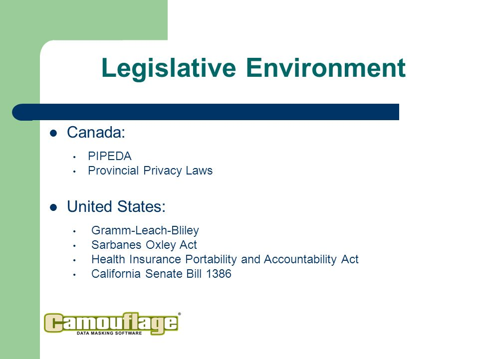 Legislative Environment Canada: PIPEDA Provincial Privacy Laws United States: Gramm-Leach-Bliley Sarbanes Oxley Act Health Insurance Portability and Accountability Act California Senate Bill 1386