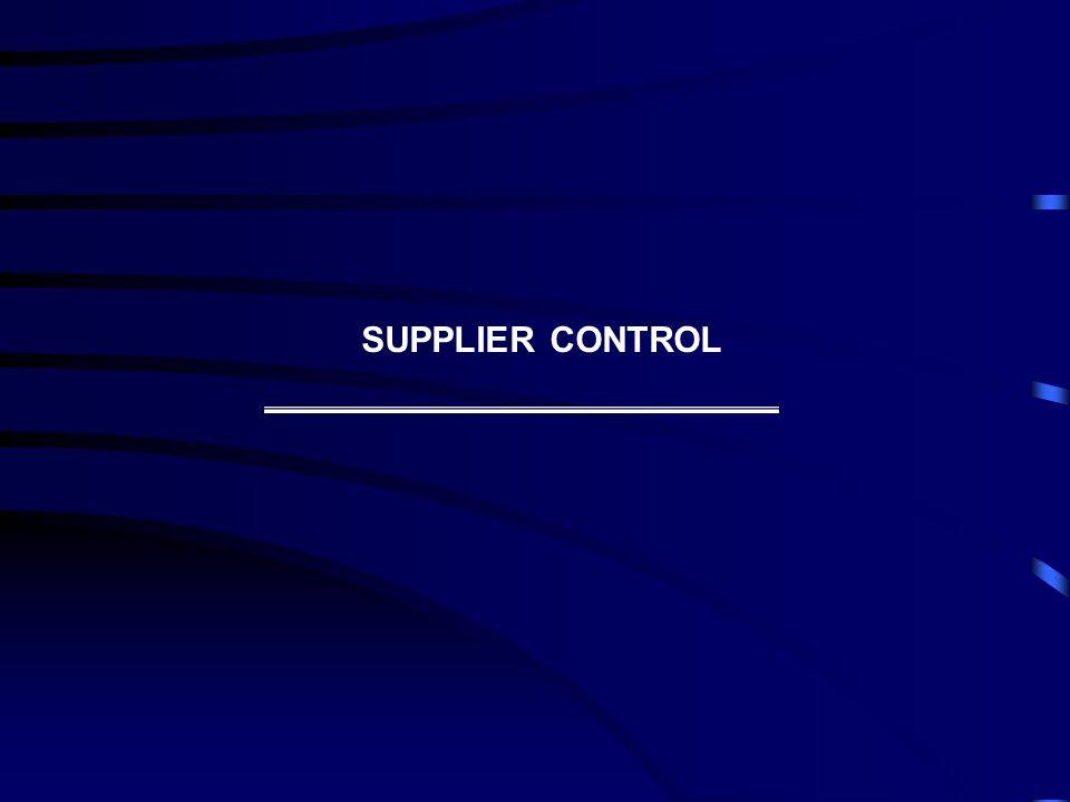 SUPPLIER CONTROL
