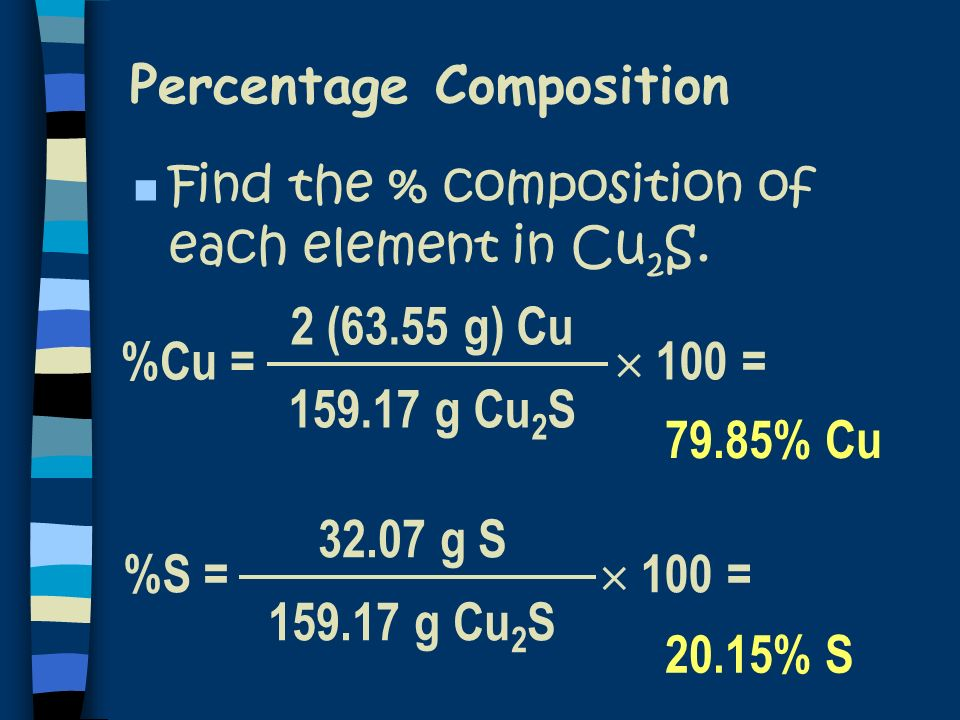 100 = Percentage Composition %Cu = 2 (63.55 g) Cu 159.17 g Cu 2 S 100 = %S = 32.07 g S 159.17 g Cu 2 S 79.85% Cu 20.15% S n Find the % composition of