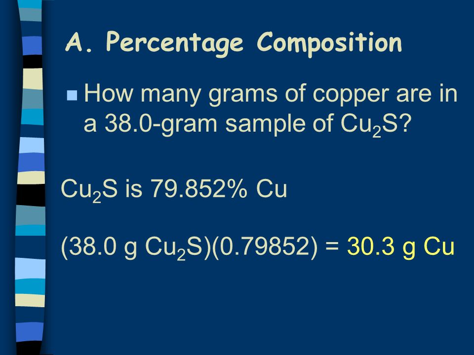 n How many grams of copper are in a 38.0-gram sample of Cu 2 S? (38.0 g Cu 2 S)(0.79852) = 30.3 g Cu Cu 2 S is 79.852% Cu A. Percentage Composition