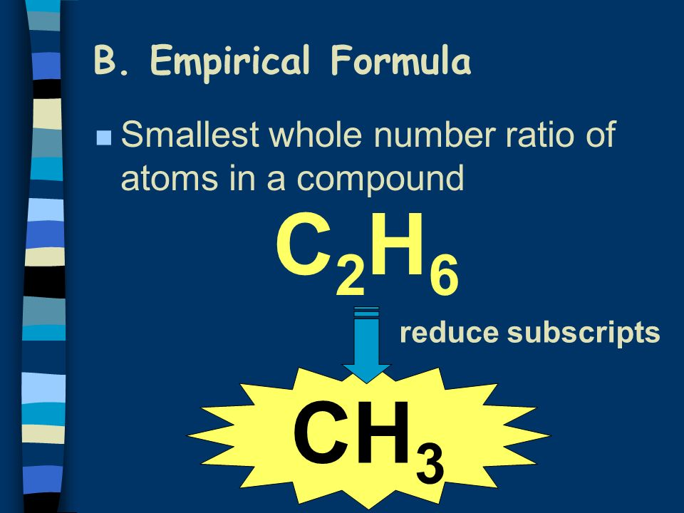 B. Empirical Formula C2H6C2H6 CH 3 reduce subscripts n Smallest whole number ratio of atoms in a compound