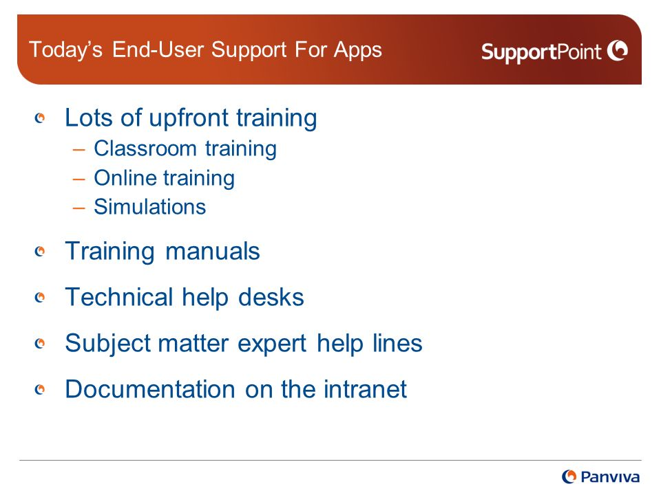 Todays End-User Support For Apps Lots of upfront training –Classroom training –Online training –Simulations Training manuals Technical help desks Subject matter expert help lines Documentation on the intranet