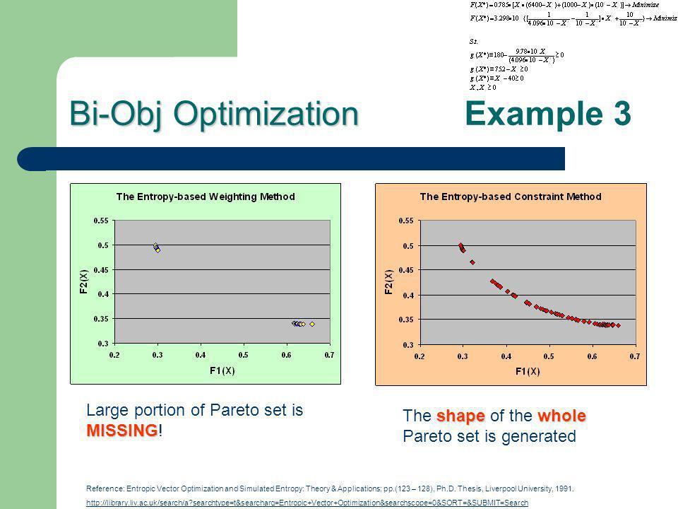 Bi-Obj Optimization Bi-Obj Optimization Example 3 MISSING Large portion of Pareto set is MISSING! shapewhole The shape of the whole Pareto set is gene