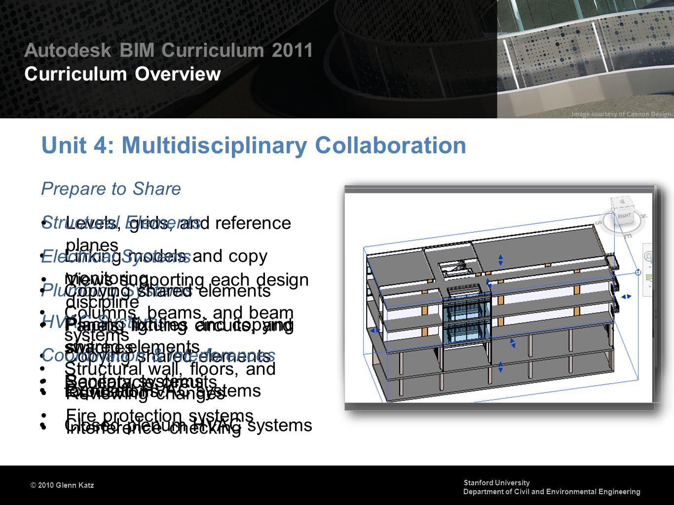 © 2010 Autodesk Autodesk BIM Curriculum 2011 Curriculum Overview © 2010 Glenn Katz Stanford University Department of Civil and Environmental Engineering Creating an integrated model Exploring the composite model Review and markup Conflict detection Digital RFIs Presenting the Project Model Scheduling & 4D Simulation Identifying & Resolving Issues Timelines and construction simulations Time-based clashes Enhancing model images with filtering and rendering Creating animations Unit 5: Using BIM in Integrated Project Delivery Model Integration & Management