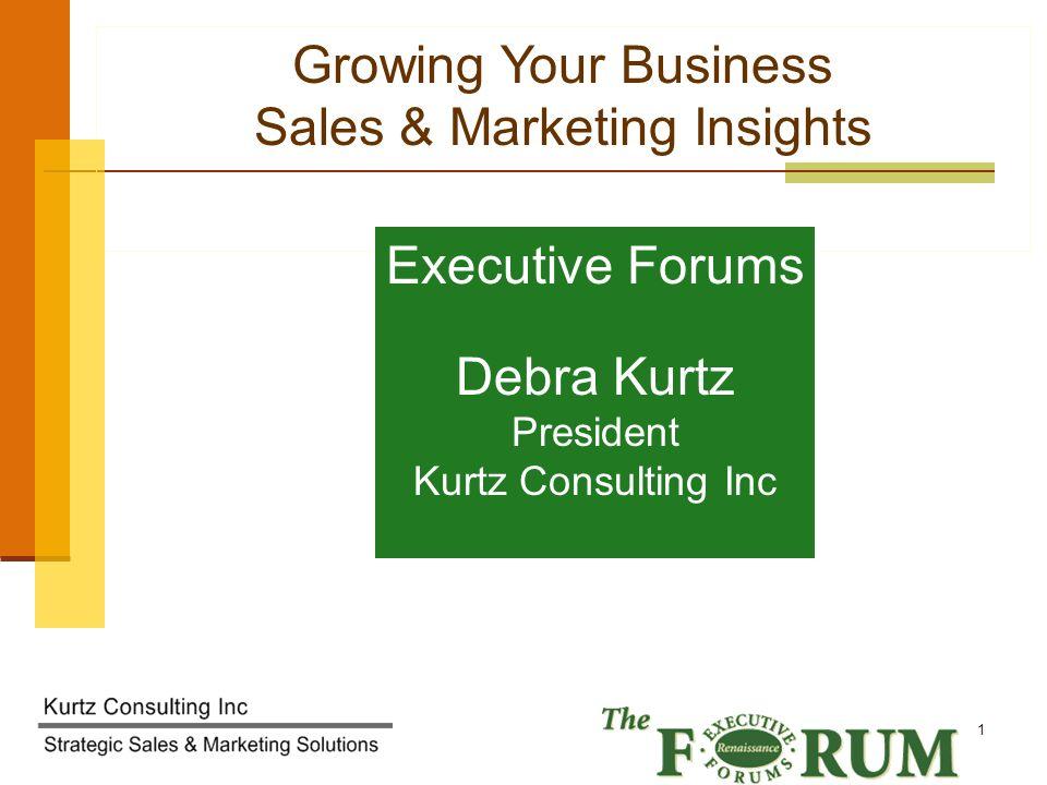 Kurtz Consulting Inc 22 Next Steps Debra Kurtz Kurtz Consulting Inc www.debrakurtz.com 224.715.1538 Strategy, Marketing & Sales Solutions