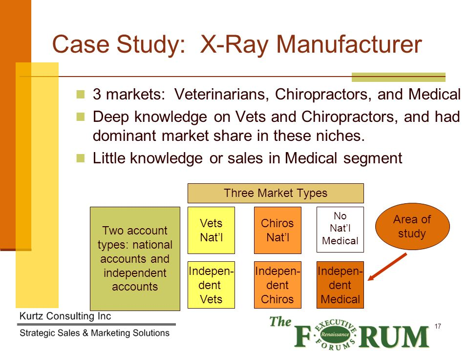 Kurtz Consulting Inc 17 Case Study: X-Ray Manufacturer 3 markets: Veterinarians, Chiropractors, and Medical Deep knowledge on Vets and Chiropractors, and had dominant market share in these niches.