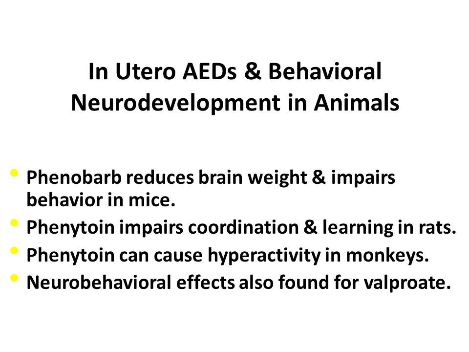 In Utero AEDs & Behavioral Neurodevelopment in Animals Phenobarb reduces brain weight & impairs behavior in mice. Phenytoin impairs coordination & lea