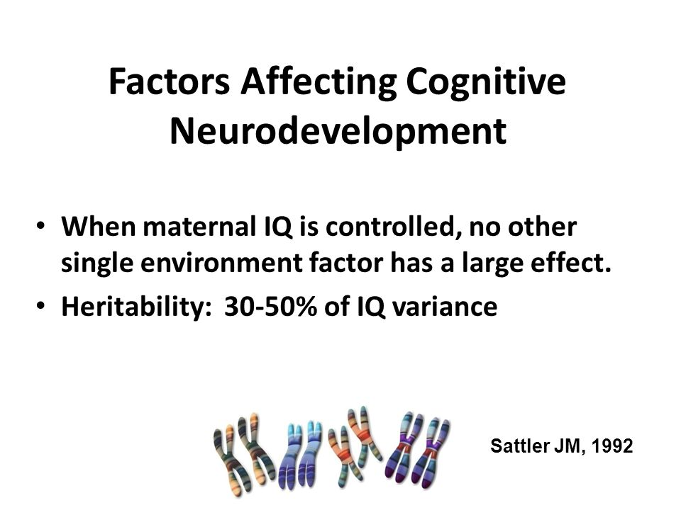 Factors Affecting Cognitive Neurodevelopment When maternal IQ is controlled, no other single environment factor has a large effect. Heritability: 30-5