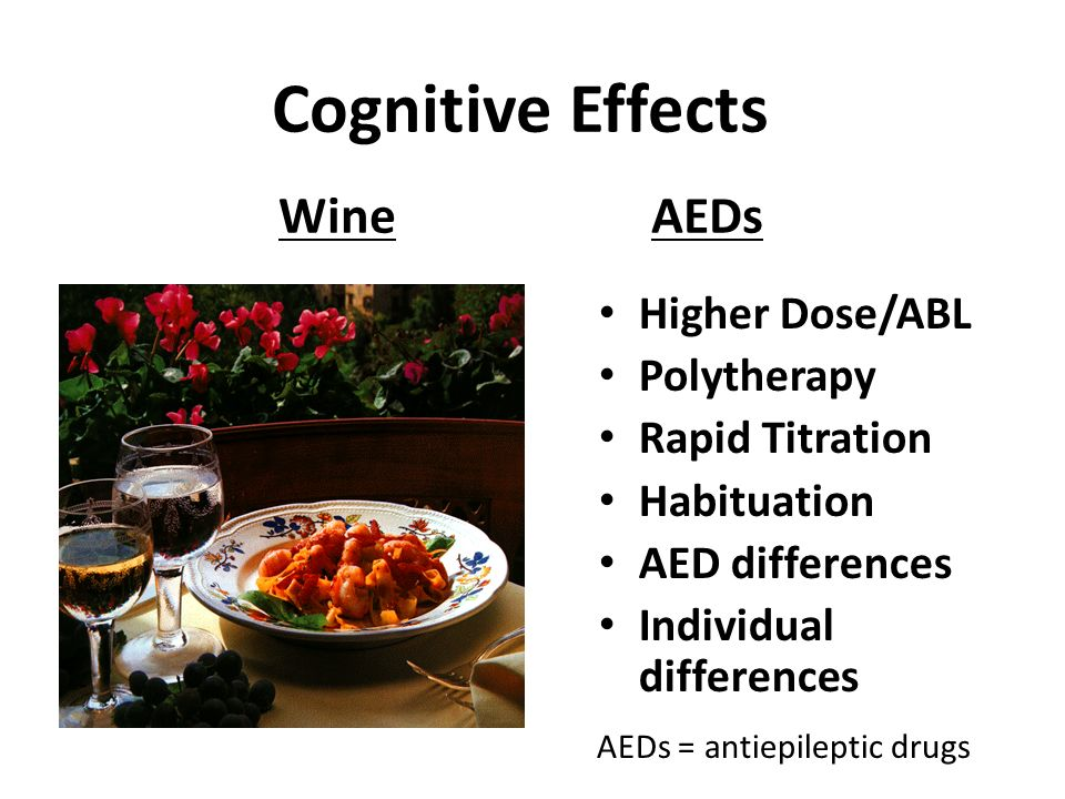 Cognitive Effects WineAEDs Higher Dose/ABL Polytherapy Rapid Titration Habituation AED differences Individual differences AEDs = antiepileptic drugs