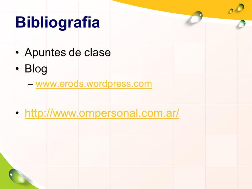 Bibliografia Apuntes de clase Blog –www.erods.wordpress.comwww.erods.wordpress.com http://www.ompersonal.com.ar/