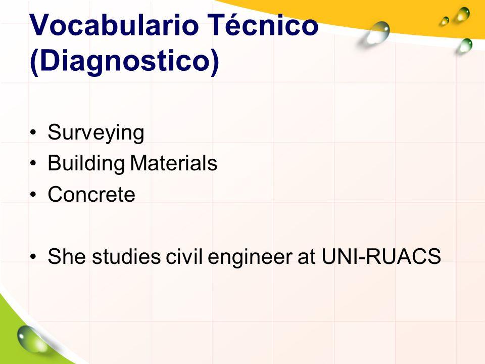 Vocabulario Técnico (Diagnostico) Surveying Building Materials Concrete She studies civil engineer at UNI-RUACS