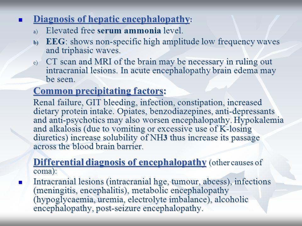 Diagnosis of hepatic encephalopathy : Diagnosis of hepatic encephalopathy : a) Elevated free serum ammonia level. b) EEG: shows non-specific high ampl