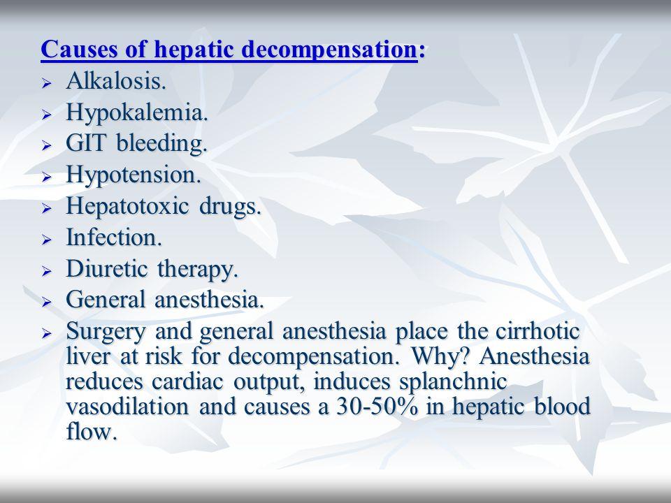 Causes of hepatic decompensation: Alkalosis. Alkalosis. Hypokalemia. Hypokalemia. GIT bleeding. GIT bleeding. Hypotension. Hypotension. Hepatotoxic dr