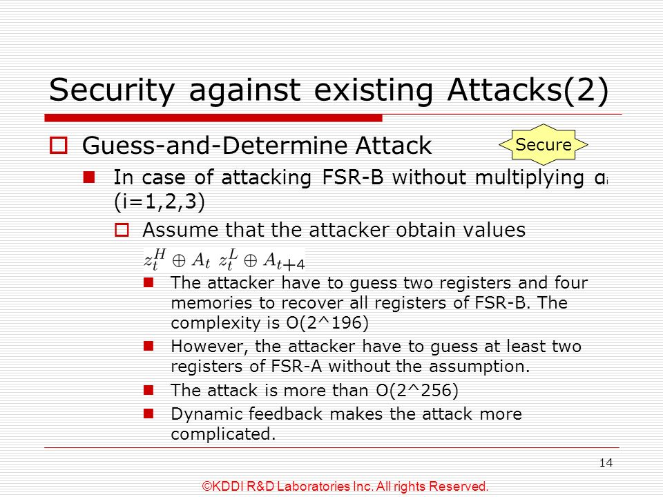 ©KDDI R&D Laboratories Inc. All rights Reserved. 14 Security against existing Attacks(2) Guess-and-Determine Attack In case of attacking FSR-B without