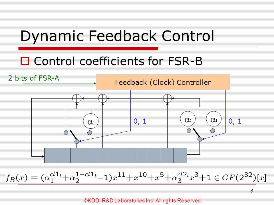 ©KDDI R&D Laboratories Inc. All rights Reserved. 8 Dynamic Feedback Control Control coefficients for FSR-B Feedback (Clock) Controller 0, 1 2 bits of