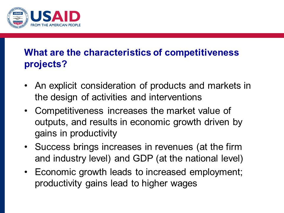 What are the characteristics of competitiveness projects.