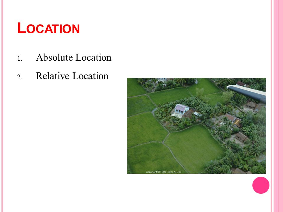 L OCATION 1. Absolute Location 2. Relative Location