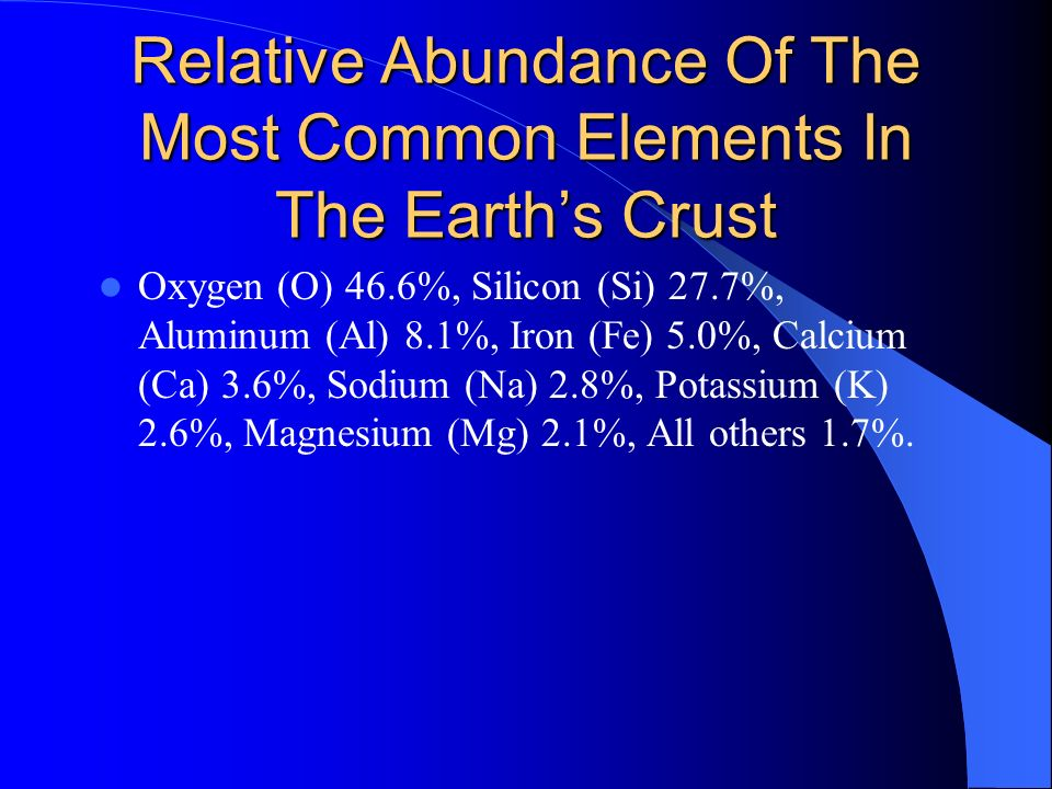Relative Abundance Of The Most Common Elements In The Earths Crust Oxygen (O) 46.6%, Silicon (Si) 27.7%, Aluminum (Al) 8.1%, Iron (Fe) 5.0%, Calcium (