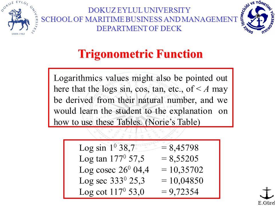 DOKUZ EYLUL UNIVERSITY SCHOOL OF MARITIME BUSINESS AND MANAGEMENT DEPARTMENT OF DECK E.Gürel Trigonometric Function Logarithmics values might also be