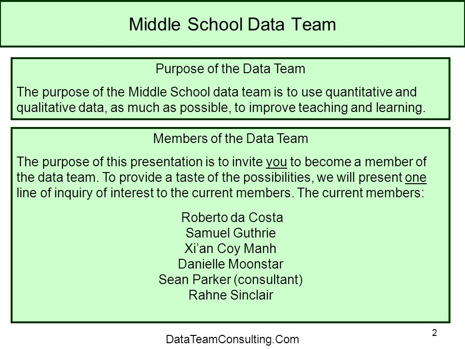 2 Middle School Data Team Purpose of the Data Team The purpose of the Middle School data team is to use quantitative and qualitative data, as much as possible, to improve teaching and learning.