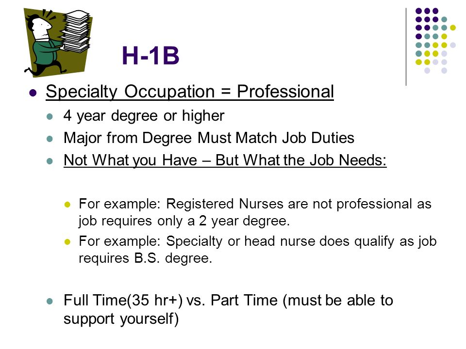 H-1B Specialty Occupation = Professional 4 year degree or higher Major from Degree Must Match Job Duties Not What you Have – But What the Job Needs: F