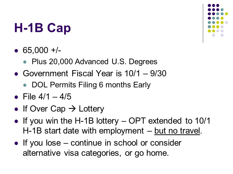 H-1B Cap 65,000 +/- Plus 20,000 Advanced U.S. Degrees Government Fiscal Year is 10/1 – 9/30 DOL Permits Filing 6 months Early File 4/1 – 4/5 If Over C