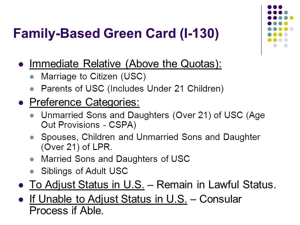 Family-Based Green Card (I-130) Immediate Relative (Above the Quotas): Marriage to Citizen (USC) Parents of USC (Includes Under 21 Children) Preferenc