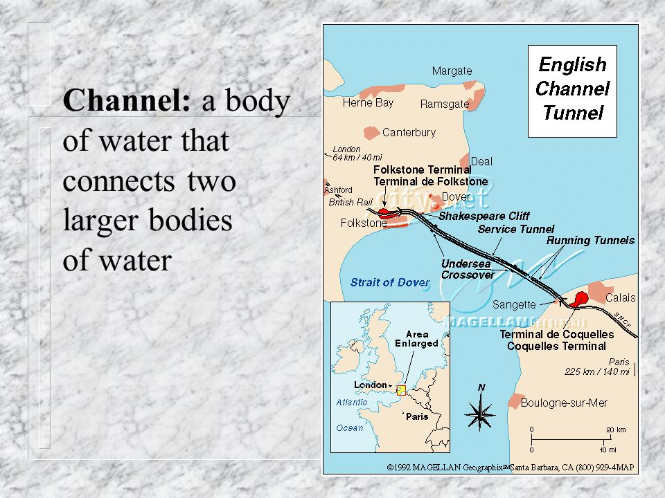 Channel: a body of water that connects two larger bodies of water