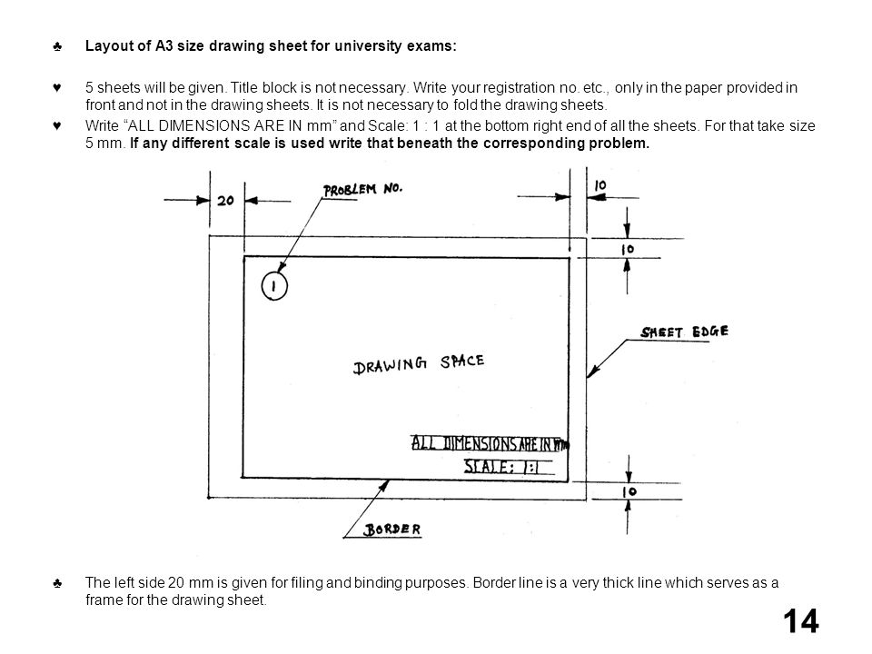 Layout of A3 size drawing sheet for university exams: 5 sheets will be given. Title block is not necessary. Write your registration no. etc., only in