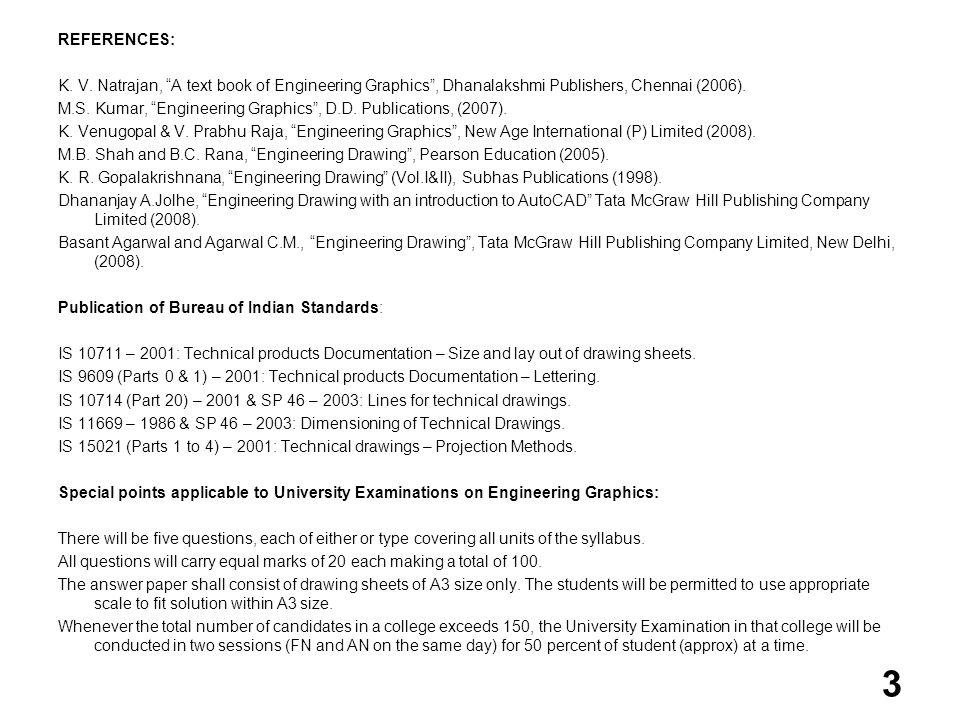 REFERENCES: K. V. Natrajan, A text book of Engineering Graphics, Dhanalakshmi Publishers, Chennai (2006). M.S. Kumar, Engineering Graphics, D.D. Publi
