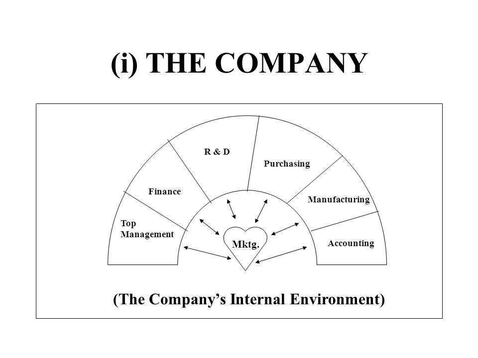 (i) THE COMPANY Mktg. Top Management Finance R & D Purchasing Manufacturing Accounting (The Companys Internal Environment)