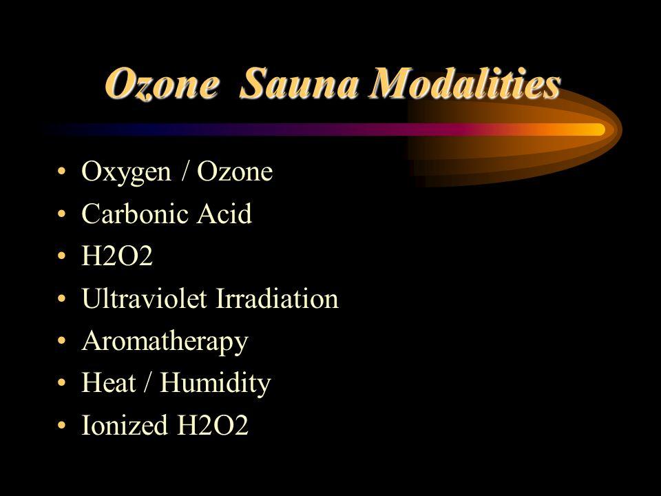 Ozone Sauna Modalities Oxygen / Ozone Carbonic Acid H2O2 Ultraviolet Irradiation Aromatherapy Heat / Humidity Ionized H2O2
