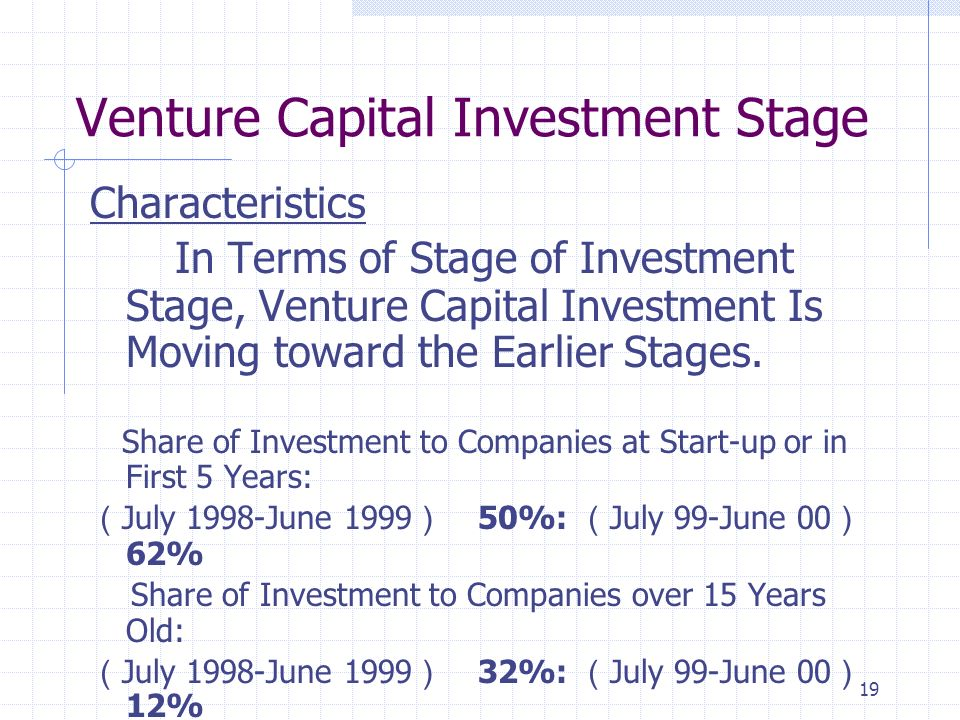 19 Venture Capital Investment Stage Characteristics In Terms of Stage of Investment Stage, Venture Capital Investment Is Moving toward the Earlier Stages.