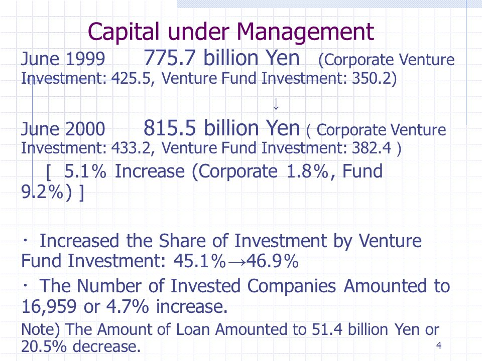 4 Capital under Management June billion Yen (Corporate Venture Investment: 425.5, Venture Fund Investment: 350.2) June billion Yen Corporate Venture Investment: 433.2, Venture Fund Investment: Increase (Corporate 1.8, Fund 9.2 ) Increased the Share of Investment by Venture Fund Investment: The Number of Invested Companies Amounted to 16,959 or 4.7% increase.