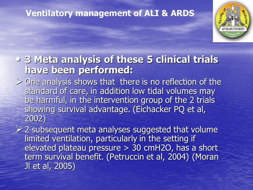 3 Meta analysis of these 5 clinical trials have been performed: 3 Meta analysis of these 5 clinical trials have been performed: One analysis shows tha