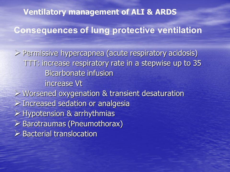 Permissive hypercapnea (acute respiratory acidosis) Permissive hypercapnea (acute respiratory acidosis) TTT: increase respiratory rate in a stepwise u