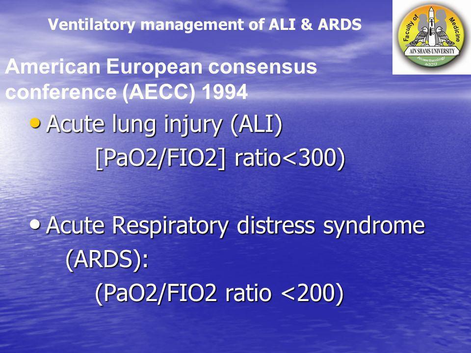 Acute lung injury (ALI) Acute lung injury (ALI) [PaO2/FIO2] ratio<300) [PaO2/FIO2] ratio<300) Acute Respiratory distress syndrome Acute Respiratory di